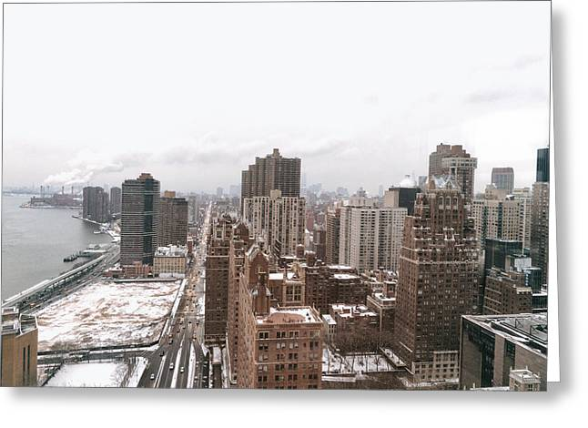 Winter Travel Greeting Cards - Winter Afternoon - Above New York City Greeting Card by Vivienne Gucwa