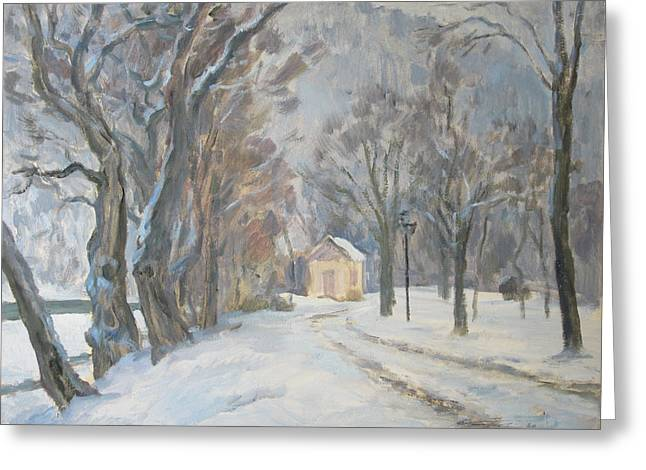 Valery Greeting Cards - Winter Alley Greeting Card by Valery Kosorukov