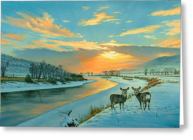 Fawn Greeting Cards - Winter Along the Yellowstone Greeting Card by Paul Krapf