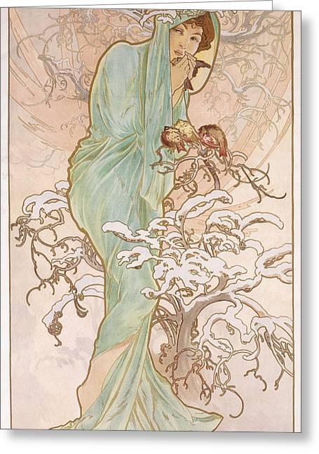 Winter Wonderland Drawings Greeting Cards - Winter Greeting Card by Alphonse Marie Mucha