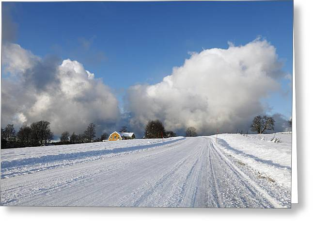 Snow Scape Greeting Cards - Winter And Snow Clouds Greeting Card by Christian Lagereek