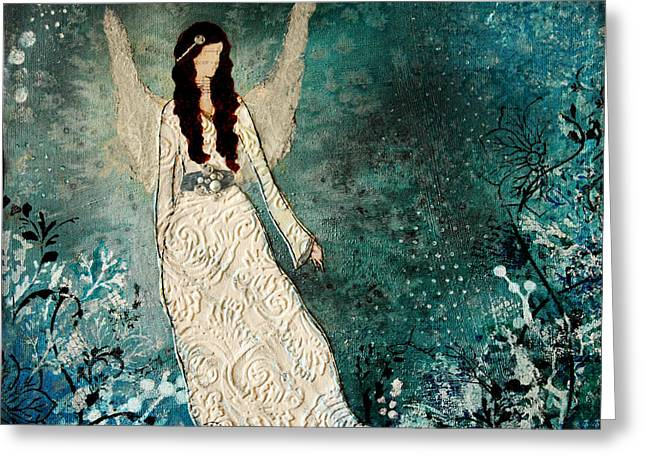 Religious Mixed Media Greeting Cards - Winter Angel inspirational Christian Mixed Media painting  Greeting Card by Janelle Nichol