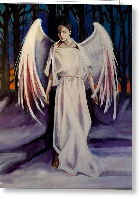 Night Angel Greeting Cards - Winter Angel Greeting Card by Irena Mohr