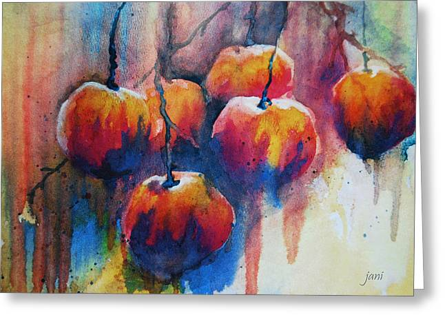 Drippy Paintings Greeting Cards - Winter Apples Greeting Card by Jani Freimann