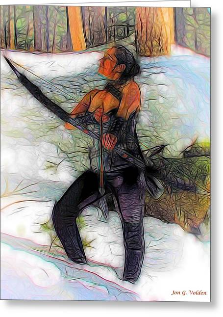 Dungeons Greeting Cards - Winter Archer Greeting Card by Jon Volden