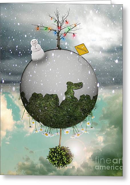 Winter Solstice Greeting Cards - Winter Around the World Greeting Card by Juli Scalzi