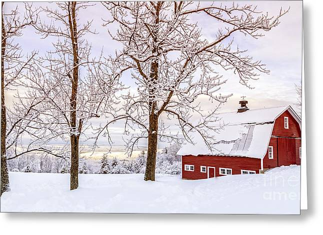 New Hampshire Greeting Cards - Winter Arrives Greeting Card by Edward Fielding