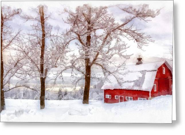 Winter Storm Greeting Cards - Winter Arrives Watercolor Greeting Card by Edward Fielding