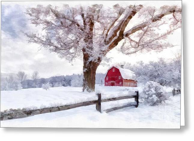 Winter Roads Greeting Cards - Winter Arrives Watercolor II Greeting Card by Edward Fielding