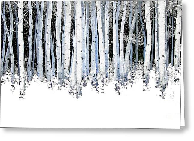 Autumn Landscape Paintings Greeting Cards - Winter Aspens  Greeting Card by Michael Swanson
