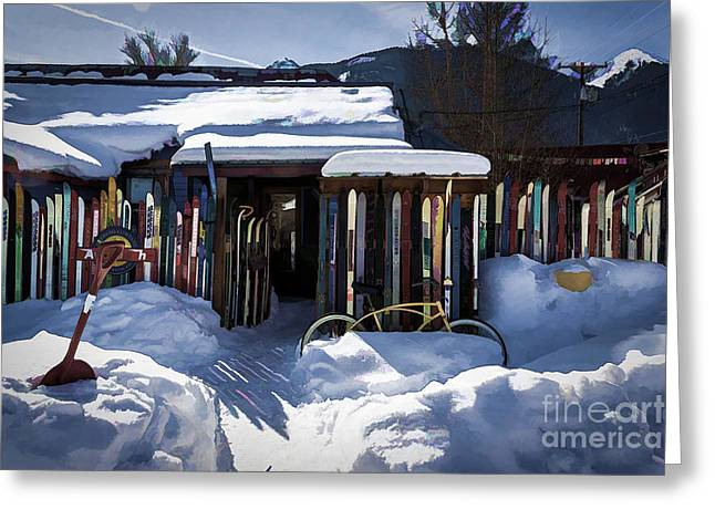 Ski Art Greeting Cards - Winter At Avalanche Brewing Co Greeting Card by Janice Rae Pariza