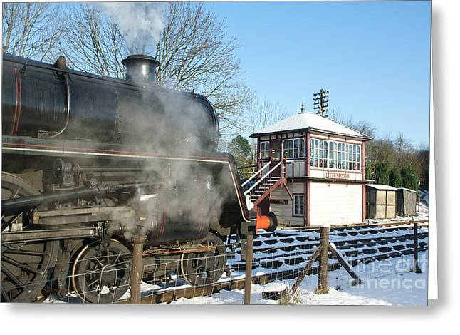 Signalbox Greeting Cards - Winter at Butterley Greeting Card by David Birchall