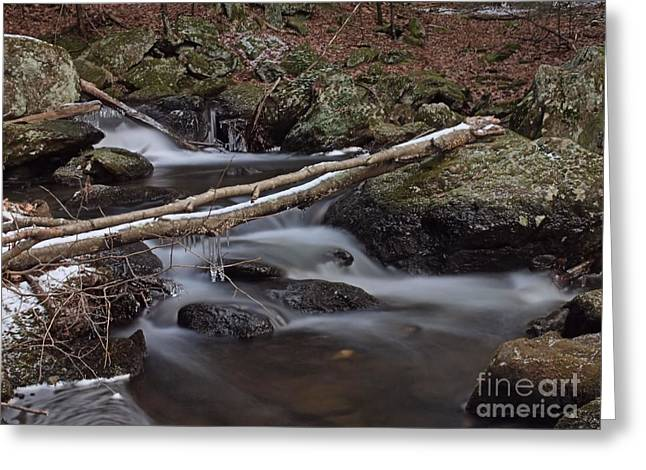 Winter at Buttermilk Falls Greeting Card by Frank Piercy