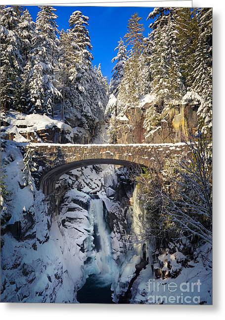 Hiking Greeting Cards - Winter at Christine Falls Greeting Card by Inge Johnsson