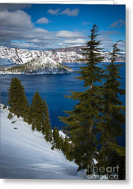 Crater Lake Greeting Cards - Winter at Crater Lake Greeting Card by Inge Johnsson