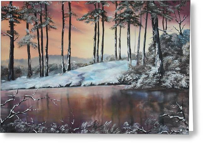 Cannock Chase Greeting Cards - Winter at Fairoak Pool Cannock Chase Greeting Card by Jean Walker