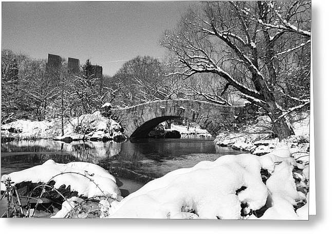 Recently Sold -  - Pond In Park Greeting Cards - Winter at Gapstow Bridge Greeting Card by Cornelis Verwaal
