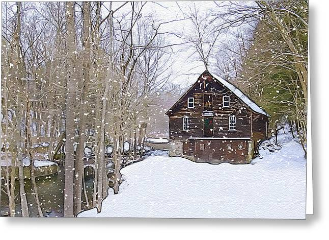 Grist Mill Mixed Media Greeting Cards - Winter at Kerrs Mill Greeting Card by Dave Sandt