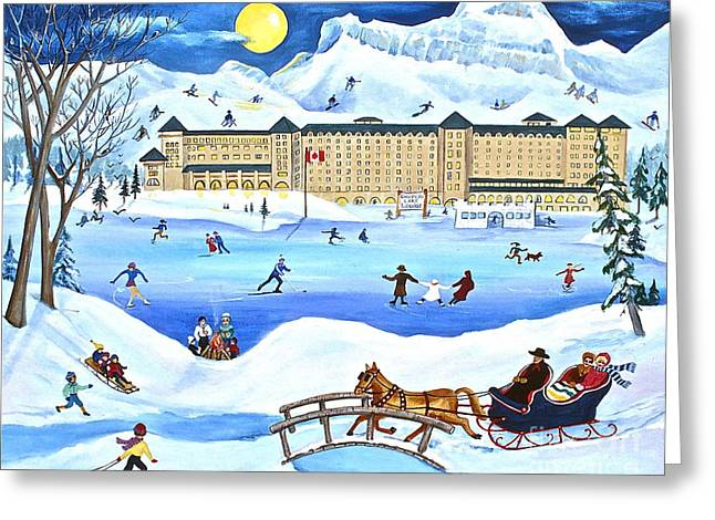 Alberta Greeting Cards Greeting Cards - Winter at Lake Louise Chateau Greeting Card by Virginia Ann Hemingson