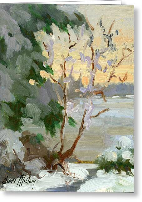 Winter Light Paintings Greeting Cards - Winter at Martha Lake Greeting Card by Diane McClary