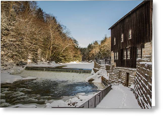 Mcconell Mill Greeting Cards - Winter at McConnells Mills Greeting Card by Neil Smilek