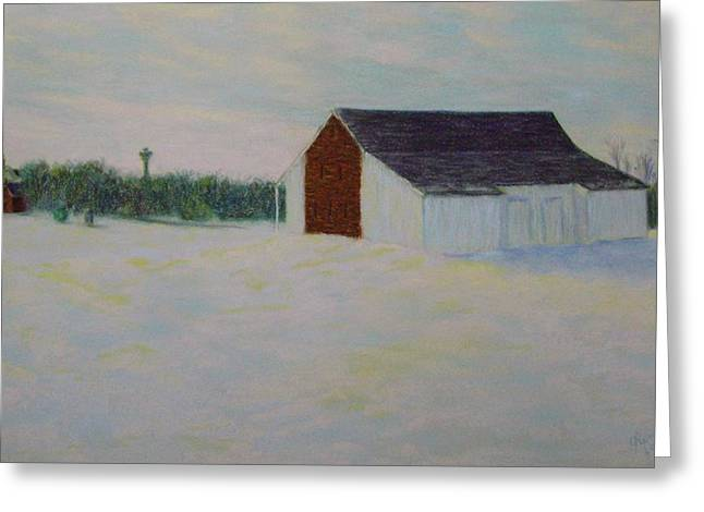Civil Pastels Greeting Cards - Winter at McPhersons Barn Gettysburg Greeting Card by Joann Renner
