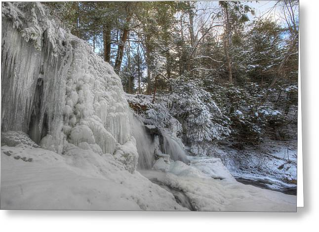 Mohawk Park Greeting Cards - Winter at Mohawk Falls Greeting Card by Lori Deiter
