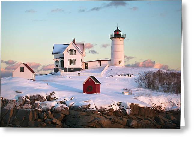 Best Sellers -  - New England Snow Scene Greeting Cards - Winter at Nubble Greeting Card by Eric Gendron