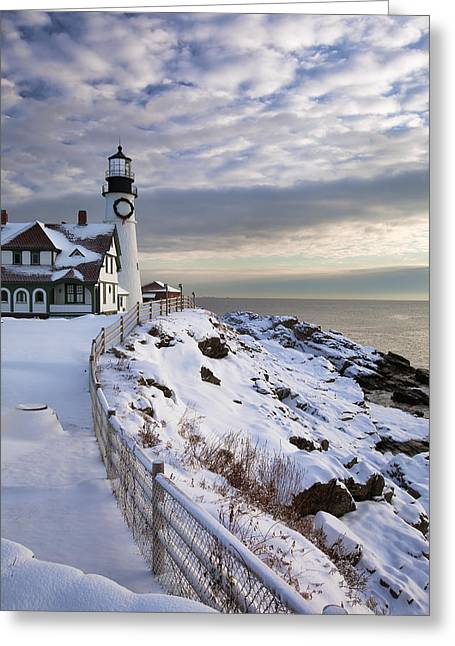 Best Sellers -  - New England Snow Scene Greeting Cards - Winter at Portland Head Greeting Card by Eric Gendron