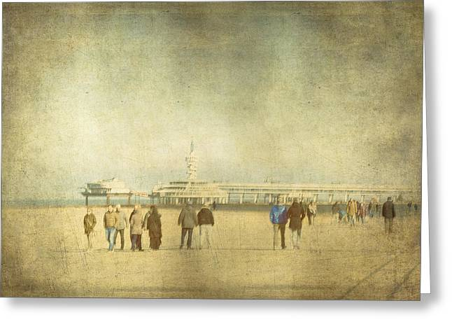 Holland Greeting Cards - Winter at Scheveningen Greeting Card by Constance Fein Harding