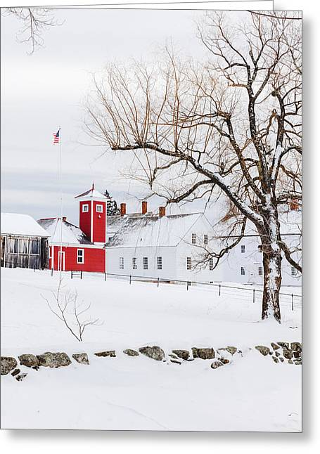 New England Village Greeting Cards - Winter at Shaker Village Greeting Card by Robert Clifford