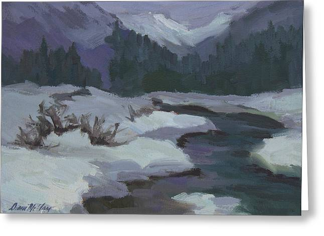 Mountain Pass Greeting Cards - Winter at Snoqualmie Pass Greeting Card by Diane McClary