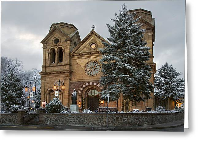 Southwestern Greeting Cards - Winter at St Francis Cathedral in Santa Fe New Mexico Greeting Card by Dave Dilli