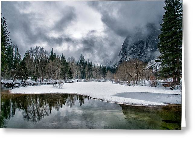 Scenic Greeting Cards - Winter at Swinging Bridge Greeting Card by Cat Connor