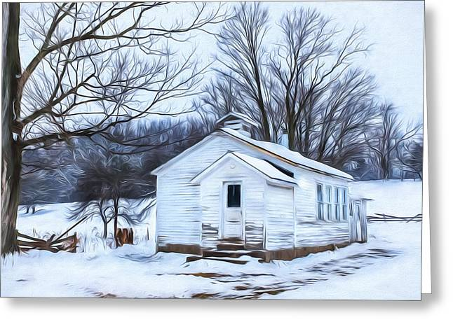 Country Schools Greeting Cards - Winter at the Amish Schoolhouse Greeting Card by Chris Bordeleau
