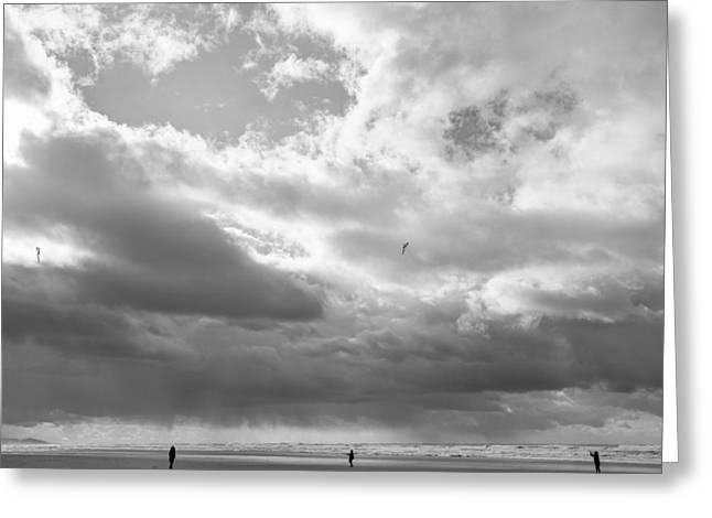 Kite Surfing Greeting Cards - Winter at the beach Greeting Card by Kunal Mehra
