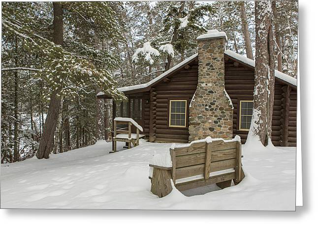 Pinus Resinosa Greeting Cards - Winter at the Cabin Greeting Card by Tim Grams