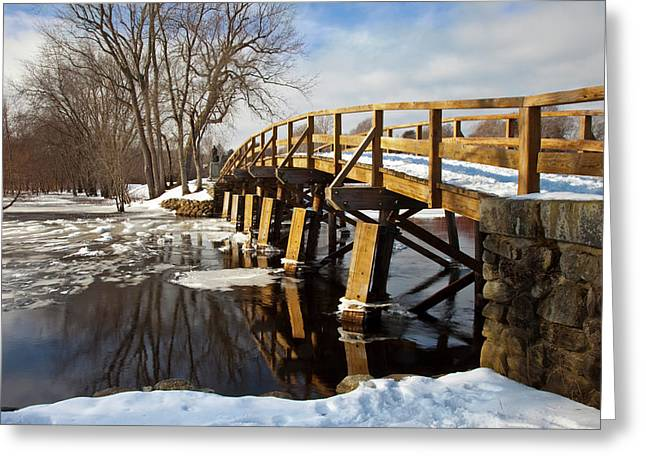 Winter At The Historic Old North Bridge Greeting Card by Brian Jannsen
