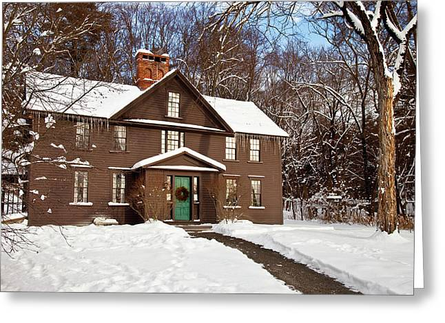 Winter At The Louisa May Alcott Home Greeting Card by Brian Jannsen