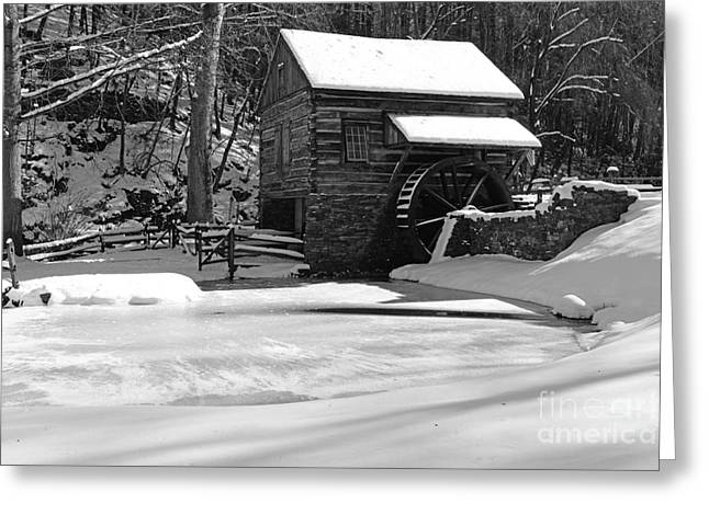Snow Scene Landscape Greeting Cards - Winter at the Mill in Black and White Greeting Card by Paul Ward