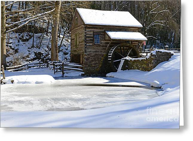 Snow Scene Landscape Greeting Cards - Winter at the Mill Greeting Card by Paul Ward