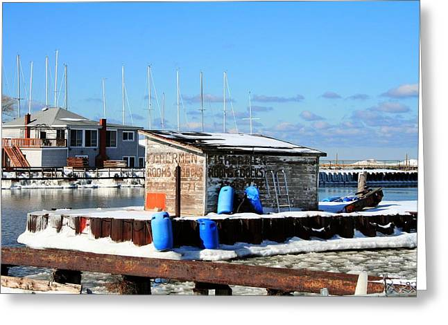 Winter At The Olcott Beach Fishing Shack Greeting Card by Michael Allen