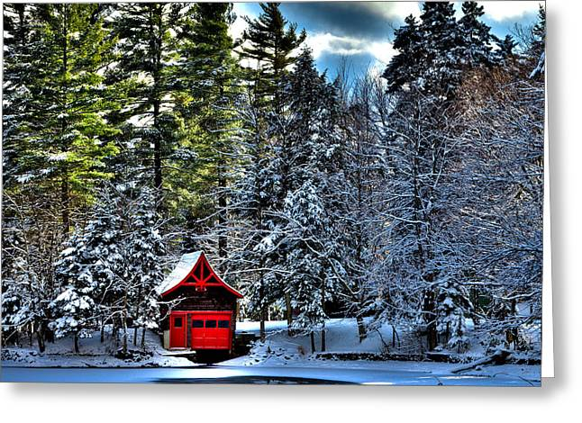 Patterson House Greeting Cards - Winter at the Red Boathouse Greeting Card by David Patterson