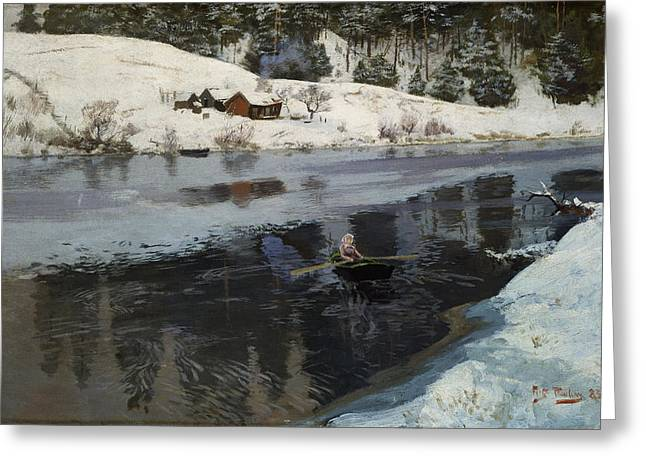 Thaulow Greeting Cards - Winter at the River Simoa Greeting Card by Frits Thaulow