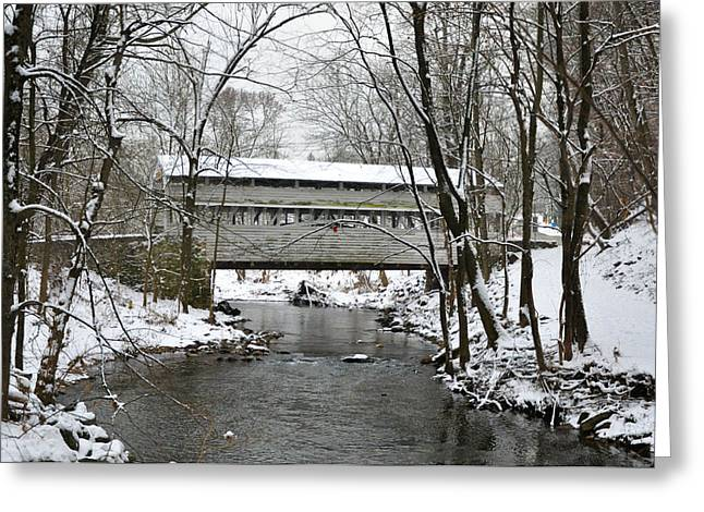 Knox Covered Bridge - Valley Forge Greeting Cards - Winter at Valley Forge - Knox Covered Bridge Greeting Card by Bill Cannon