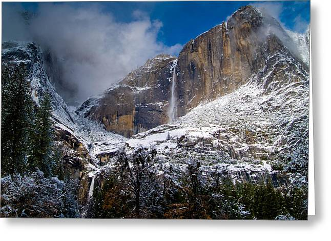 Bill Gallagher Photography Greeting Cards - Winter at Yosemite Falls Greeting Card by Bill Gallagher