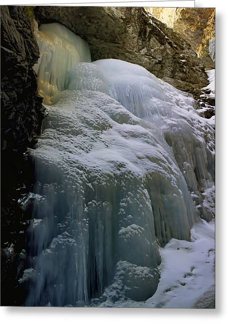 Snow-covered Landscape Digital Art Greeting Cards - Winter at Zapata Falls Greeting Card by Ellen Heaverlo
