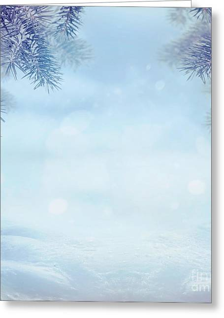 Snow Scene Landscape Greeting Cards - Winter background Greeting Card by Mythja  Photography