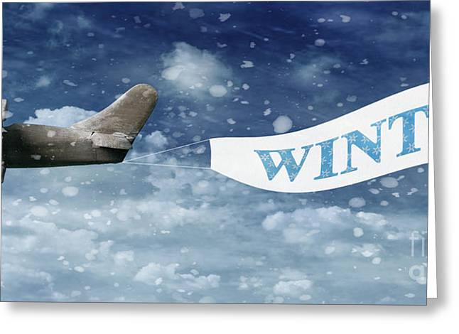 Toy Planes Greeting Cards - Winter Banner Greeting Card by Amanda And Christopher Elwell