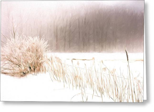 Foggy Greeting Cards - Winter barbed wire fence - Artistic Greeting Card by Chris Bordeleau